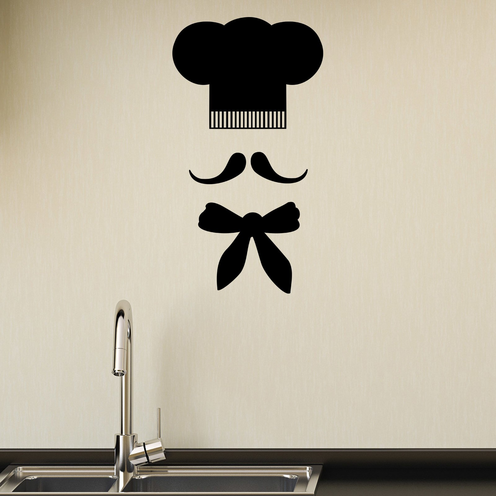 Chef Hat and Moustache Kitchen Wall Sticker World of Wall Stickers