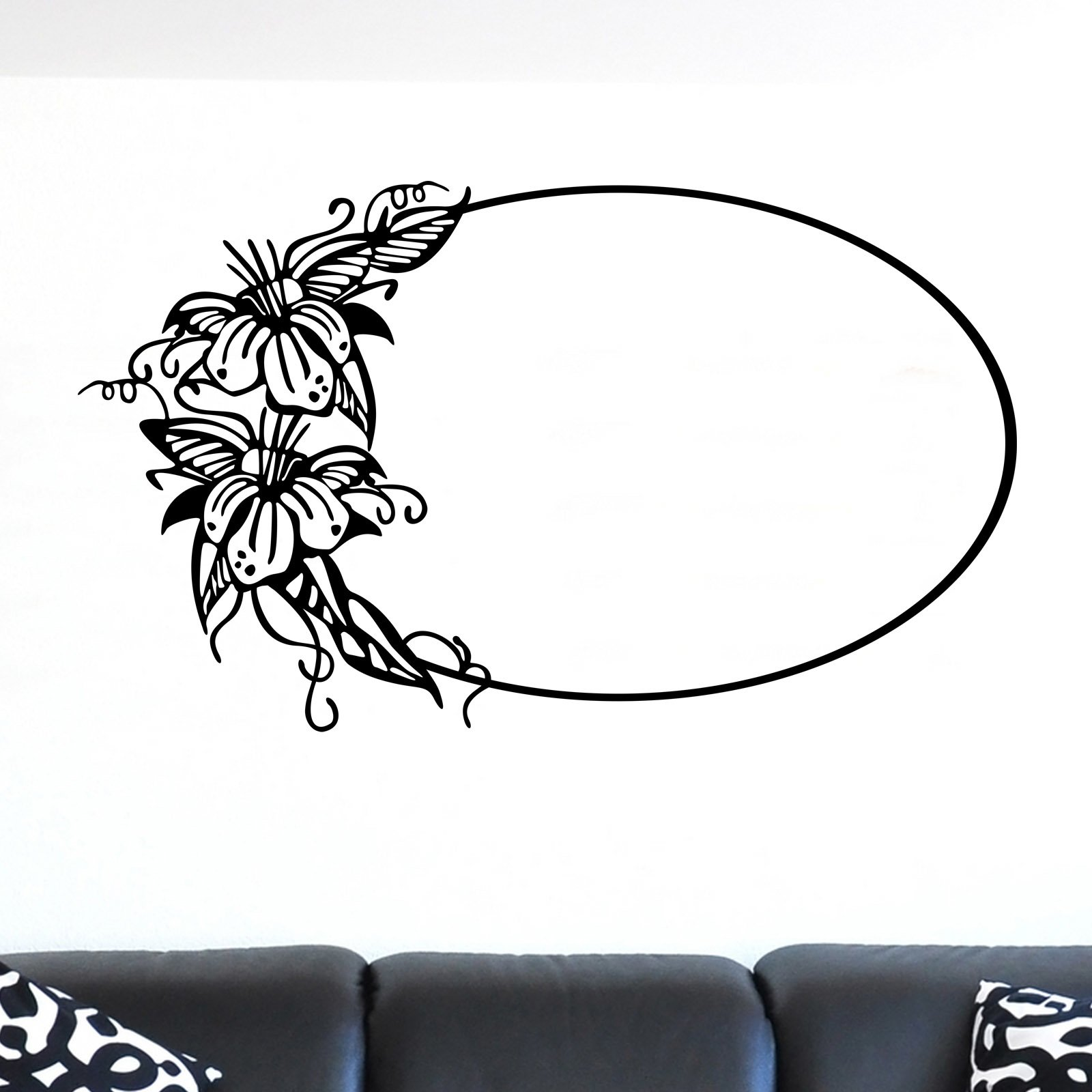 Oval Frame with Floral Design Wall Sticker - World of Wall Stickers